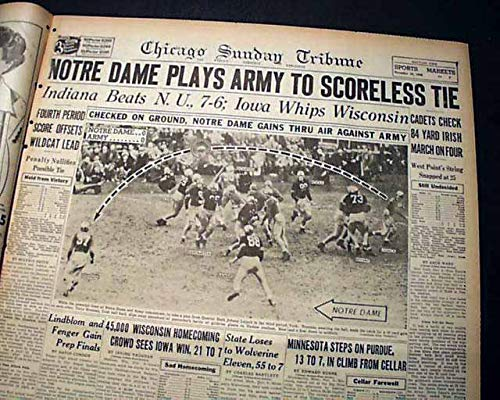 NOTRE DAME Fighting Irish vs. ARMY Football Game of the Century 1946 Newspaper CHICAGO SUNDAY TRIBUNE, November 10, 1946