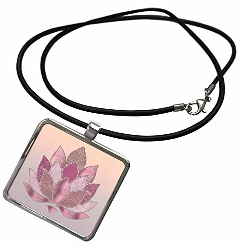 Art Illustration - Image of Lotus Flower Graphic With Pattern Of Shiny Metal And Glitter - Necklace With Rectangle Pendant (ncl_274737_1) (Graphic Image Jewelry)