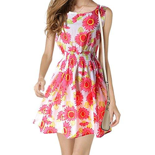 Diamondo Femmes En Mousseline De Soie Robe Sans Manches Imprimé Floral Décontracté Une Ligne Mini-robe D'été Rose