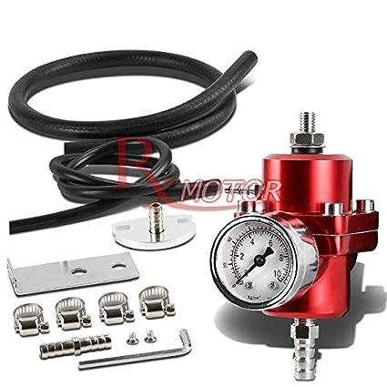 Rxmotor Fuel Pressure Regulator with Gauge 140PSI Adjustable