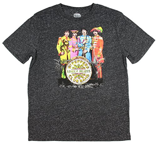 ely Hearts Club Band Men's T-Shirt Black Heather Speckle Small (Beatles Lonely Hearts T-shirt)
