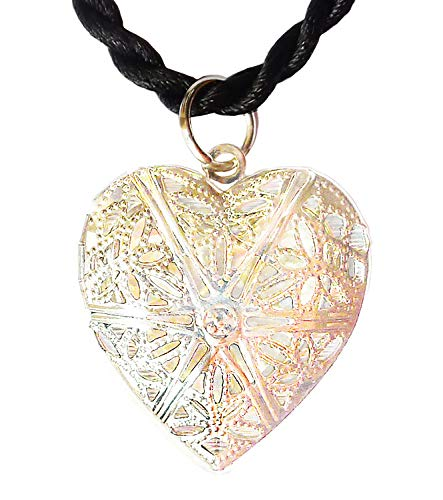 - Bijoux De Ja BDJ Silver Tone Stunning Filigree Heart Photo Frame Locket Pendant Cord Necklace 16
