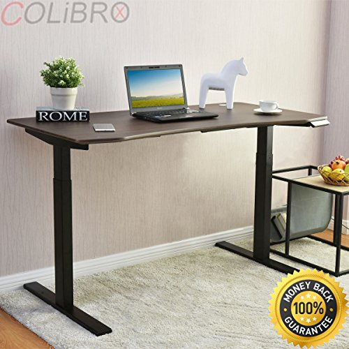 COLIBROX--55'' Wide 7-Button Electric Sit to Stand Desk Height Adjustable 28''- 47'' Walnut. uplift height adjustable sit stand desk. electric sit stand desk. best standing desk on amazon. by COLIBROX