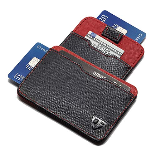 Card Blocr Pull Tab Wallet Slim Minimalist RFID Blocking Credit Card Wallet (Saffiano Black & Red Leather) ()
