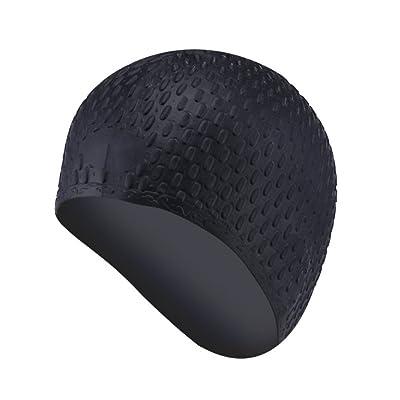 Moresave Les cheveux longs imperméables de chapeau de natation de silicone maintient le chapeau de chapeau de bain de silicone pour la formation de natation