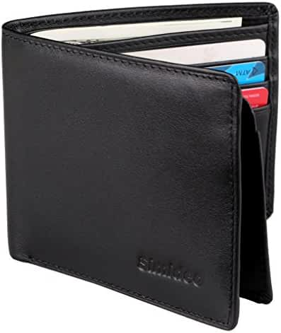 Simideo Men's Wallet TOP-GRAIN Genuine Leather Wallet Bifold Trifold Slim Wallet with RFID Blocking - Black