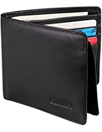 Men's Wallet TOP-GRAIN Genuine Leather Wallet Bifold Trifold Slim Wallet with RFID Blocking and 2 ID Windows