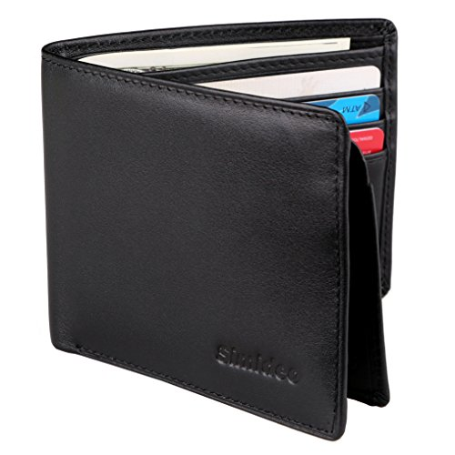 Simideo Men's Wallet TOP-GRAIN Genuine Leather Wallet Bifold Trifold Slim Wallet with RFID Blocking and 2 ID Windows - Black Top Grade Genuine Leather