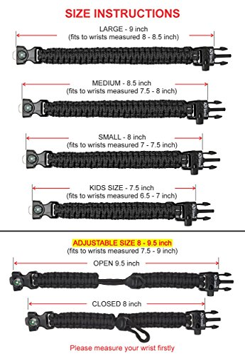 A2S Paracord Bracelet K2-Peak – Survival Gear Kit with Embedded Compass, Fire Starter, Emergency Knife & Whistle – Pack of 2 - Slim Buckle Design (Black / Orange Adjustable Size)