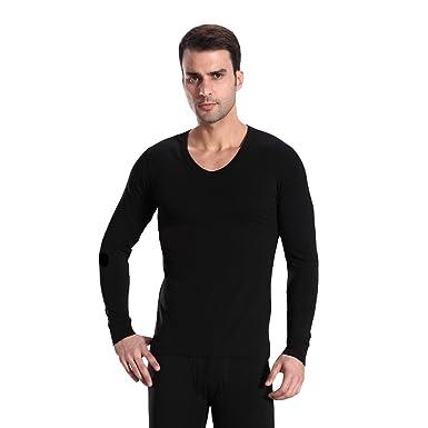 HOTER® Men Cotton V-Neck Thermal Underwear Long Sleeve Vest Top ...