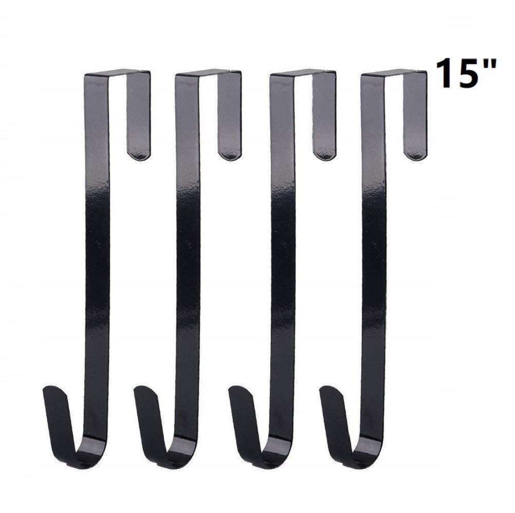 Tebery Premium Over The Door 15-Inch Metal Wreath Hanger, Black Front Door Hanger, Set of 4