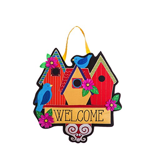Evergreen Flag Birdhouse Welcome Outdoor Safe Burlap Hanging Front Door Decorative (Evergreen Enterprises Birdhouse)