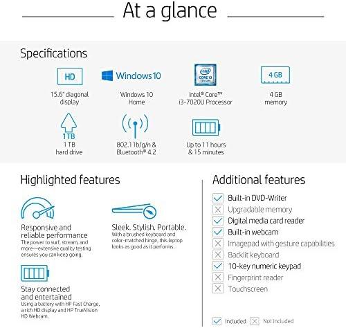 Amazon Com Hp 15 Inch Laptop Intel Core I3 7020u Processor 4 Gb Ram 1 Tb Hard Drive Windows 10 Home 15 Da0020nr Gray Computers Accessories