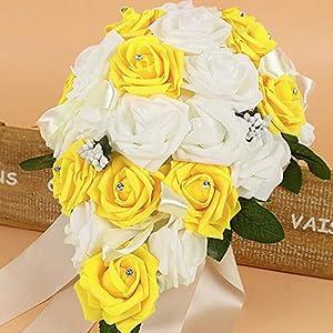 LVOERTUIG Artificial Foam Rose Flower, Mix Color Wedding Bouquet Bridal Bridesmaid Handmade Posy Pearl Rhinestone Plant Leaf Vine Satin Ribbon Decor (Yellow) 78