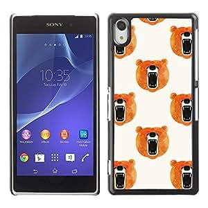 Tenga Acuarela Rugido Naranja Blanco- Metal de aluminio y de plástico duro Caja del teléfono - Negro - Sony Xperia Z2