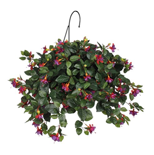 House of Silk Flowers Artificial Purple/Red Fuchsia Hanging Basket ()