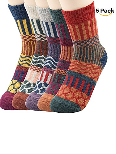 Zando Athletic Retro Warm Soft Wool Crew Socks for Women Winter Knit Thick Print Mid-Calf Cabin Socks 5 Pack 5 Pack - Stripe Shoe Size 6-11 (Wool Mix Stripe)