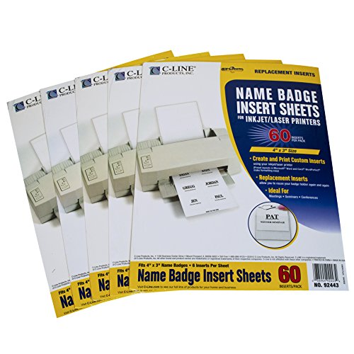 C-Line Replacement Inkjet/Laser Printer White Badge Inserts, 3 x 4 Inches, 6 Sheet, 5 Packs with 10 Sheets per Pack, 300 Inserts Total (Name Badge Printers)