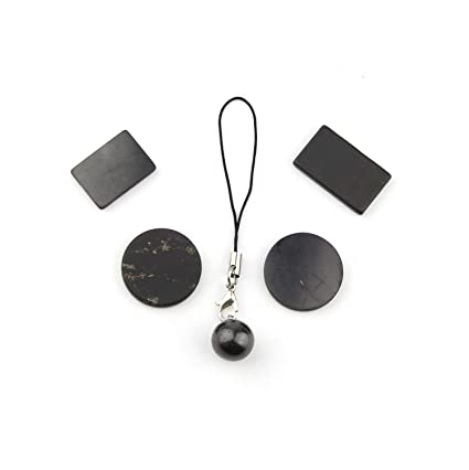 Shungita Set para móvil: 4 diferentes Placas de Teléfono Pegables + Adorno Colgante para Teléfono