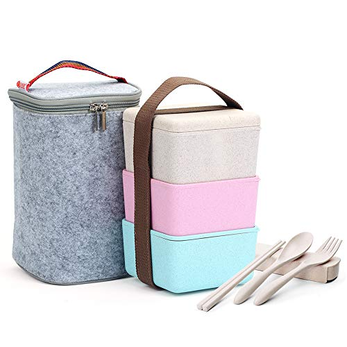 (ArderLive Bento Box, 3 In1 Stackable Wheat Straw Lunch Box with Portable Lunch Bag & Utensil, Leakproof Sandwich Lunch Contaier, Microwave/Dishwasher/Freezer Safe.(2250ml/76oz))