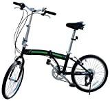 EBS Folding Bicycle City Shimano Gear 6 Speed Compact Foldable Commute Bike Wanda Tire, Green