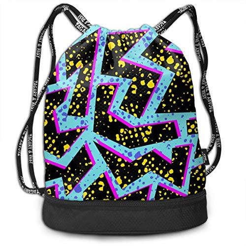 Cinch 80s Vintage - Mens Women Drawstring Bag Theft Proof Lightweight Beam Backpack, Swim Cinch Sackpack - Vintage 80s Memphis Waterproof Backpack Soccer Basketball Bag