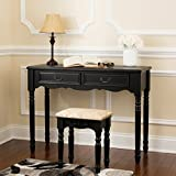 Fineboard Elegant Vanity Dressing Table Set Makeup Dressing Table With 3 Mirrors And Stool, 4 Drawers, Black