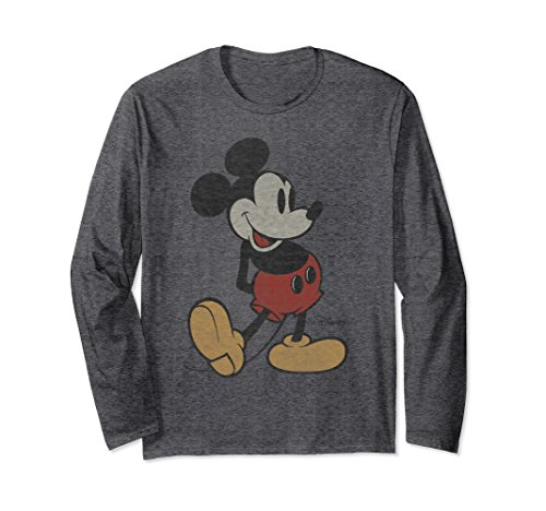 Unisex Disney Classic Mickey Mouse Long Sleeve T-shirt Large Dark Heather