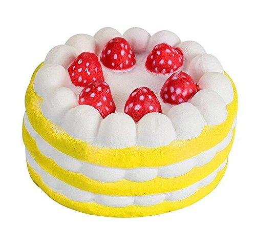 BANCN Gâteau à la crème fraise réutilisable Jouets Simulation alimentaire modèle accessoires de tir (Jaune)