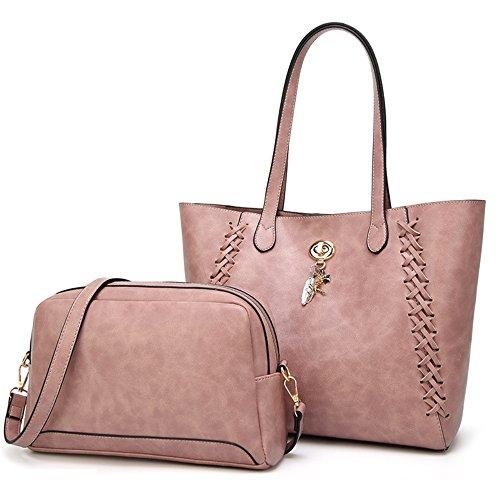 Shishang Lady Mother Bag 2018 Nouvelle épaule Tide Weaving Bag Messenger grande capacité Zyxcc (Couleur: Rose) Rose