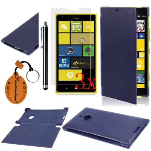 Traitonline 5in1 Deep Blue Hard Leather Flip Case Plastic Back Cover Compatible with NOKIA Lumia 1520 Protective Skin+3*Screen Protector+1*Touch Pen