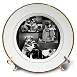 3dRose Sandy Mertens Dog Designs - Vintage Dogs and Cat in B and W Photos Dressed Up, 3drsmm - 8 inch Porcelain Plate (cp_295166_1)