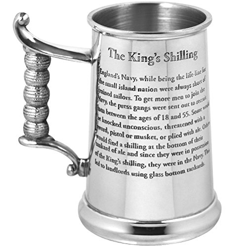 English Pewter Company Heavy Gauge King's Shilling Pewter Beer Mug Tankard. As Seen On TV [HG170]