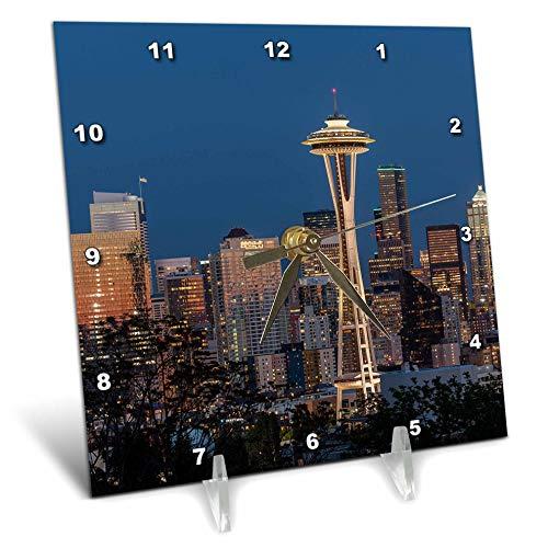 (3dRose Danita Delimont - Washington - USA, Washington State. Seattle Skyline at Dusk. - 6x6 Desk Clock (dc_315089_1))