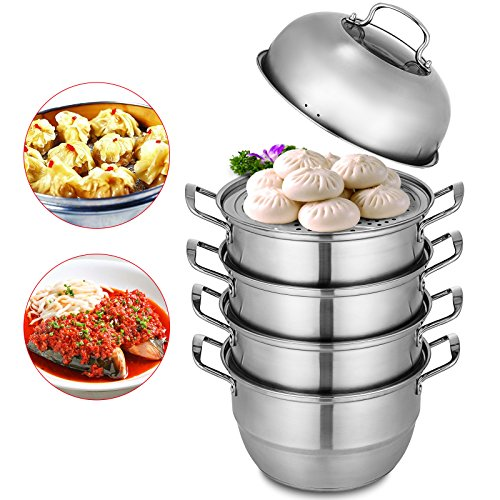 - VEVOR Dumpling Steamer Stainless Steel 5 Titer Stainless Steel Steamer Work with Gas Electric Grill Stove Top(Dia 28cm/11inch)