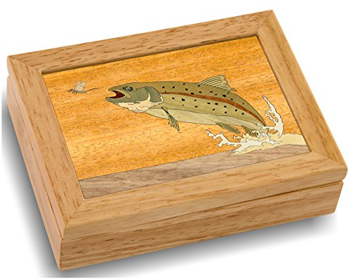 (MarqART Wood Art Trout Box - Handmade USA - Unmatched Quality - Unique, No Two are the Same - Original Work of Wood Art (#4123 Trout and Mayfly 4x5x1.5))