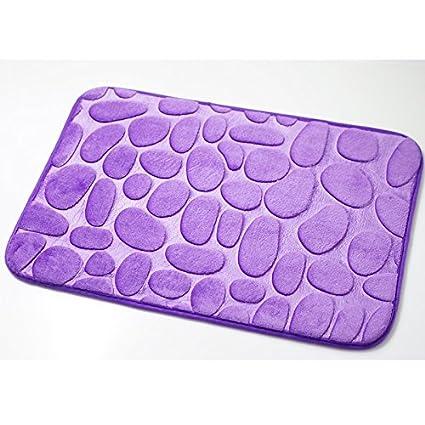 Memory Foam Pebbles Rock Bath Rug 60x40cm Non-Slip Microfiber Bath Mat