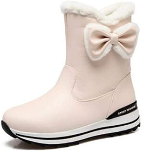Kid Girls Casual  Lace Leather Round Toe Thicken Princess Shoes Mid-calf Boots