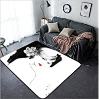 Vanfan Design Home Decorative 248326681 woman portrait abstract watercolor fashion background Modern Non-Slip Doormats Carpet for Living Dining Room Bedroom Hallway Office Easy Clean Footcloth