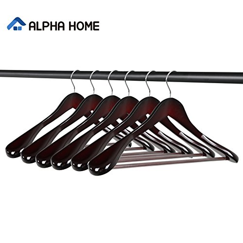 ALPHA HOME Extra-wide Suit Coat Hangers Wooden Hangers, 6 Pack by ALPHA HOME