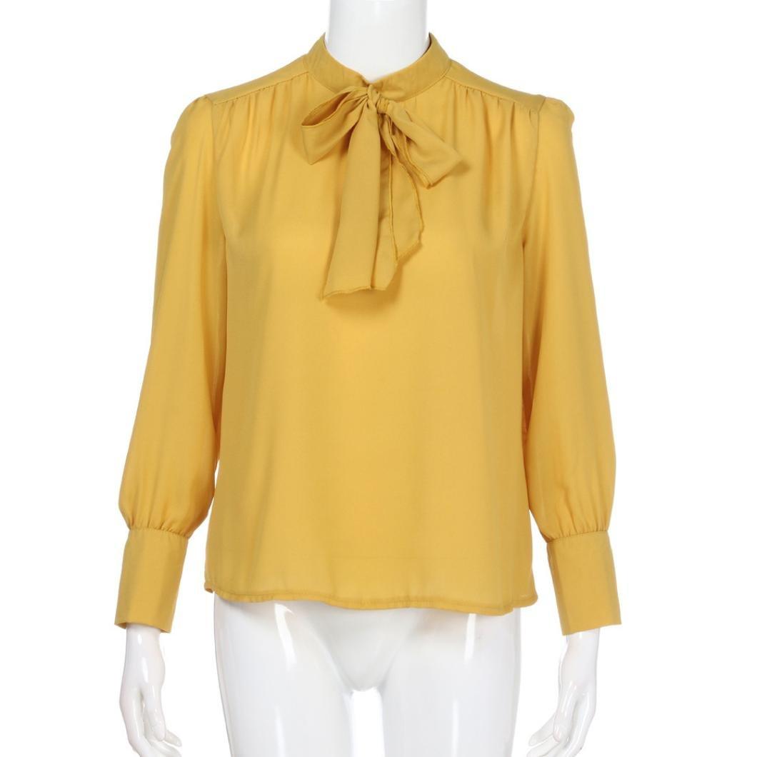 yjydada mujeres Casual gasa manga larga sólido lazo Tops camiseta blusa, casual , Medium, Amarillo: Amazon.es: Deportes y aire libre