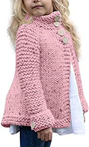 Knitted Sweater Cardigan Cloak-RQWEIN Little Girls Cute Autumn Winter Button Knitted Sweater Thick Coat Jacket