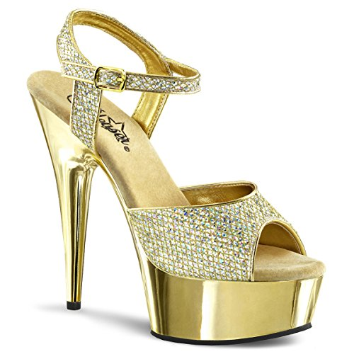- Summitfashions Womens Gorgeous 6'' Gold Glitter Platform Heels Dress Shoes with Ankle Strap Size: 10