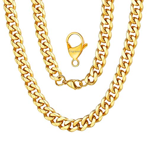 Curb Design Cuban Link Chain 18K Yellow Gold Chain Engraved Name Necklace 9mm 18 inches