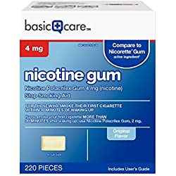 Basic Care Nicotine Gum 4mg, Stop Smoking Aid, Original, 220 Count