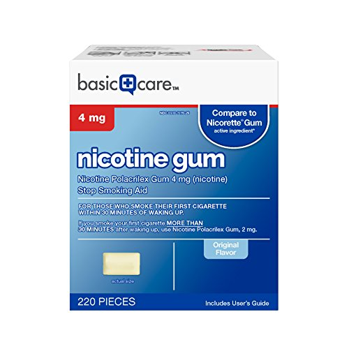 Basic Care Nicotine Gum 4mg, Stop Smoking Aid, Original, 220 Count -