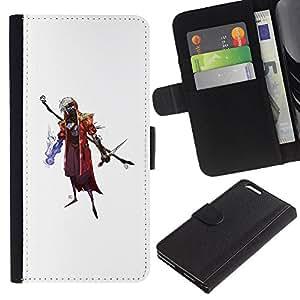 LECELL--Cuero de la tarjeta la carpeta del tirón Smartphone Slots Protección Holder For Apple Iphone 6 PLUS 5.5 -- Asistente de Goth --