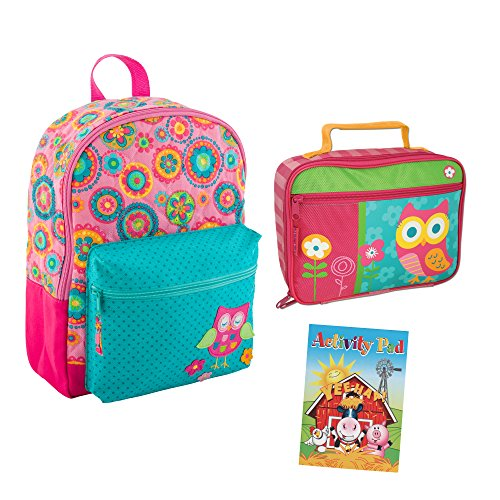Stephen Joseph Toddler Backpacks - Stephen Joseph Quilted Owl Backpack Book Bag and Lunch Box with Activity Pad