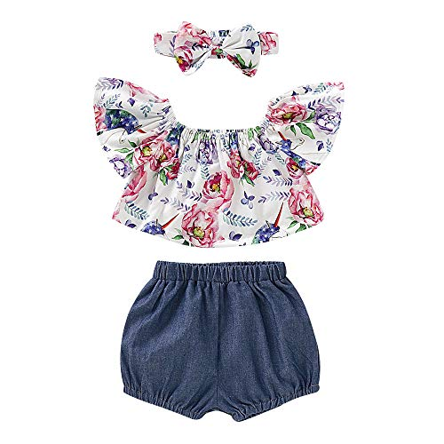 - 2Pcs Toddler Girl Denim Outfits Ruffles Floral Shirt Tops Denim Shorts with Headband Summer Clothes for Infant Girl (18-24 Months, 3pcs Sets)