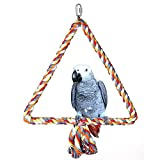 Gaweb Colourful Triangle Cotton Rope Climbing Swing Toy for Bird Parrot African Grey Macaw Budgie Parakeet Cockatiel Cockatoo Conure Lovebird Finch Cage Perch Biting Grinding Climbing Cage Toy